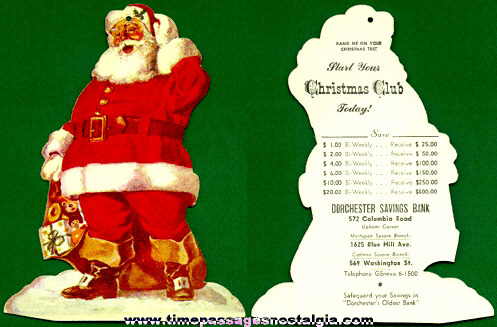 Old Die Cut Bank Advertising Santa Claus Christmas Club Hanger Ornament