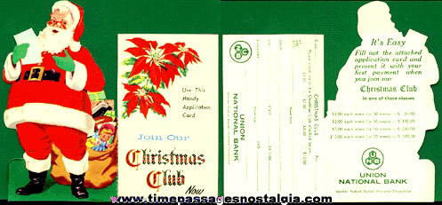 Old Die Cut Bank Advertising Santa Claus Christmas Club Hanger Ornament