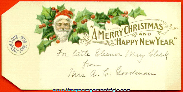 Old Embossed Dennison Christmas & New Years Gift Tag
