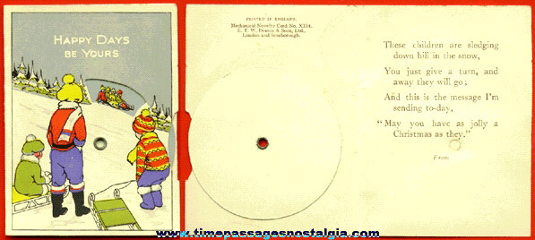 Small Old Mechanical Novelty Dial Christmas Card