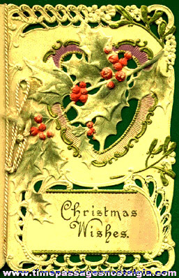 Heavily Embossed, Die Cut and Painted Old Christmas Card