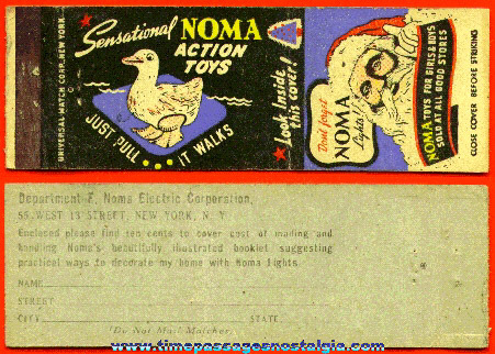 Old NOMA Action Toys / Christmas Lights Advertising Match Cover