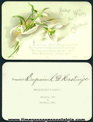 1891 Housekeeper's Weekly Magazine Christmas Card