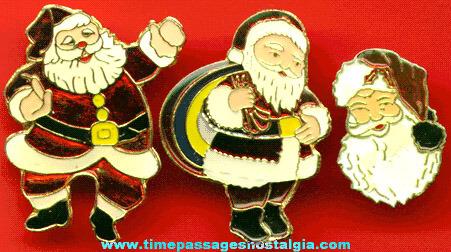 (3) Enameled Santa Claus Christmas Pins