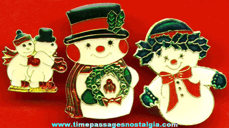 (3) Enameled Snowman Christmas Pins