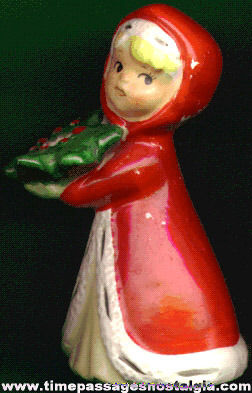 Old Porcelain Girl Figure Christmas Candle Holder
