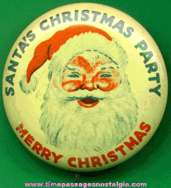Old Santa Claus Pin Back Button