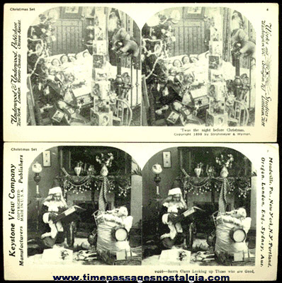 (2) Christmas Stereo View Reproduced Cards
