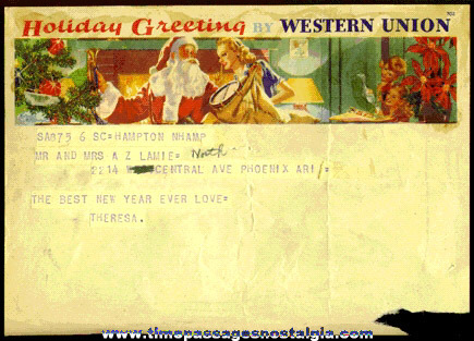Old Western Union Christmas Telegram With Graphic Image