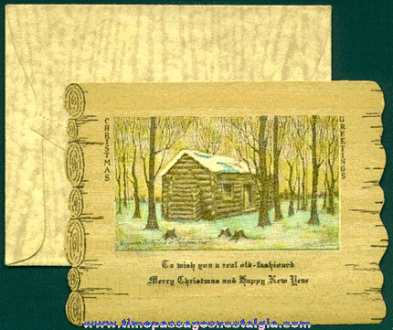 Old Abraham Lincoln Birthplace Wooden Christmas Card With Envelope