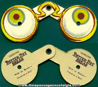 Old Pair Of Butter-Nut Bread Advertising Premium Disguise Eye Glasses