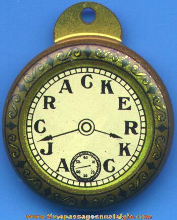Nice Old Tin Cracker Jack Advertising Pocket Watch Prize