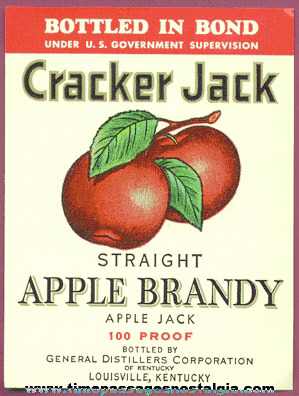 Old Unused Cracker Jack Apple Brandy Paper Label