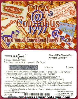 Unused Cracker Jack Collectors Association Convention Phone Card