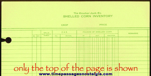 Old Unused Cracker Jack Company Shelled Corn Inventory Ledger Page