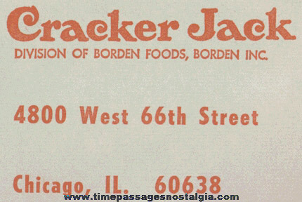 Old Large Unused Cracker Jack / Borden Inc. Correspondence Envelope