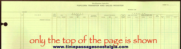 Old Large Unused Cracker Jack Company Popcorn Transfer And Sales Register Ledger Page