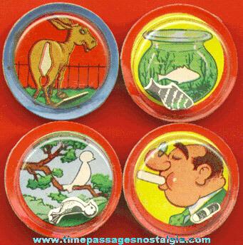 (4) Different Old Cracker Jack Prize / Premium Magic Dexterity Palm Puzzles