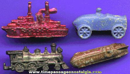 (4) Different Old Cracker Jack Pot Metal / Lead Prizes / Premiums