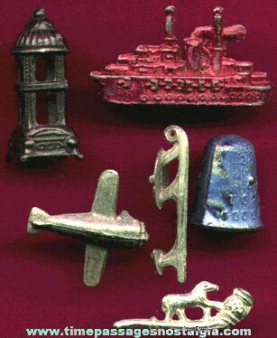(6) Different Old Cracker Jack Pot Metal / Lead Prizes / Premiums