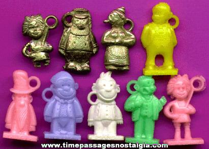 (9) Different Scarce Old Comic Strip Character Bubble Gum Machine Charms
