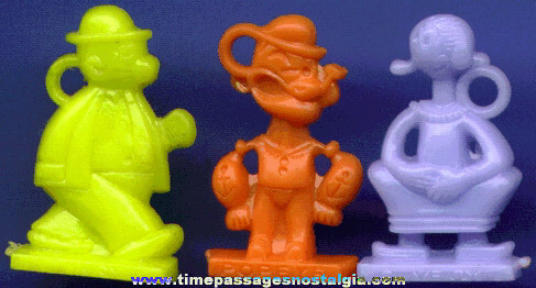 (3) Different Scarce Old Popeye Comic Strip Character Bubble Gum Machine Charms