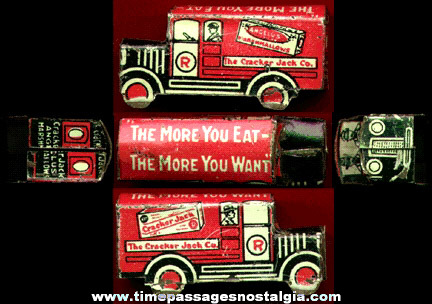 1920's Lithographed Tin Cracker Jack & Angelus Marshmallows Delivery Truck Prize / Premium
