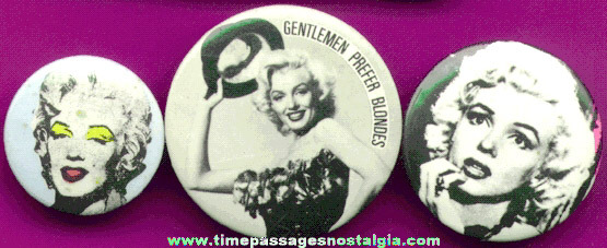 (3) Marilyn Monroe Pin Back Buttons