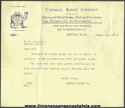 1920 Premium Manufacturing Company Letter