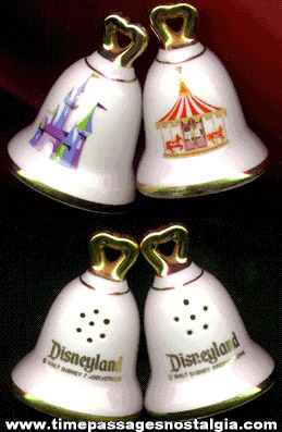 Walt Disney Productions Disneyland Souvenir Salt & Pepper Shaker Set