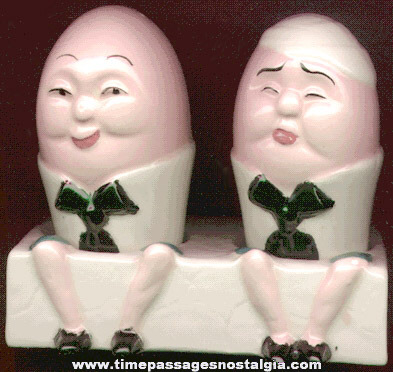 Old (3) Piece Humpty Dumpty Nursery Rhyme Salt & Pepper Shaker Set