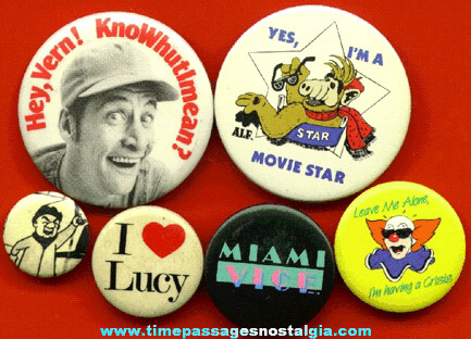 (6) Different Television / Movie / Show Pin Back Buttons