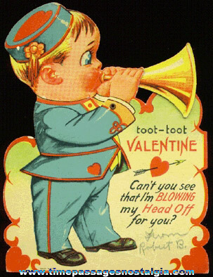1939 Mechanical Musician Valentine Card