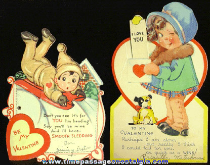 (2) 1939 Mechanical Valentine Cards