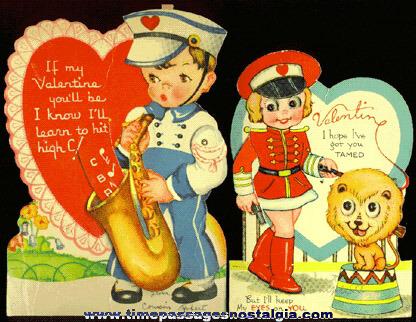(2) 1939 Mechanical Valentine Cards