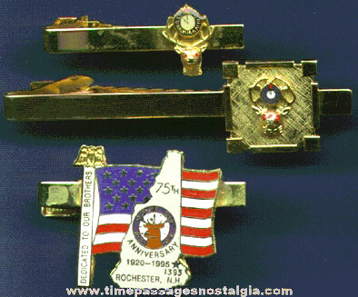 (3) Different Elks Lodge (B.P.O.E.) Neck Tie Bars