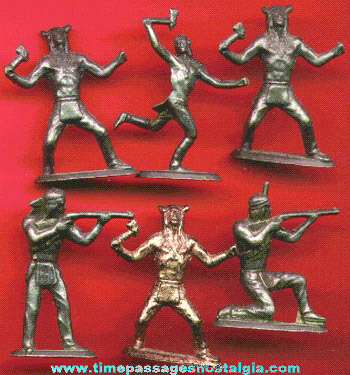 (6) Small Metal Native American Indian Figures