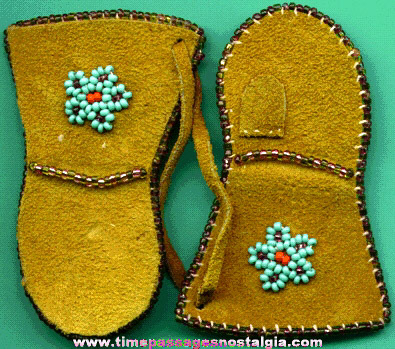 Pair Of Miniature Native American Indian Beaded Suede Mittens