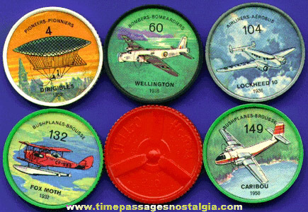 (5) Different Old JELL-O / HOSTESS Premium Airplane Coins
