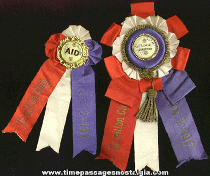 (2) Different 1917 Hamilton Club Rosette Ribbons