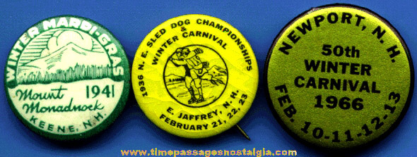 (3) Old Celluloid Winter Sports Pin Back Buttons