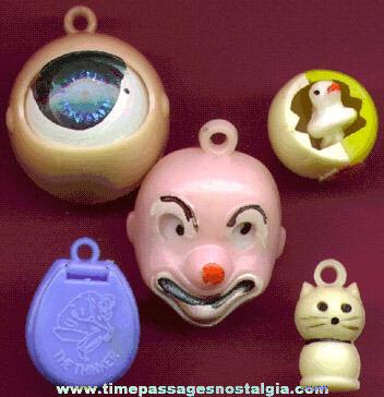 (5) Scarce 1960's Mechanical Gum Ball Machine Toy Prizes