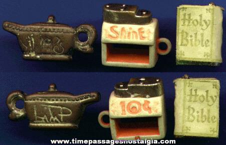 (3) Scarce 1950's - 1960's Gum Ball Machine Charms