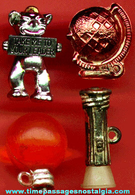 (4) Scarce 1950's - 1960's Gum Ball Machine Charms
