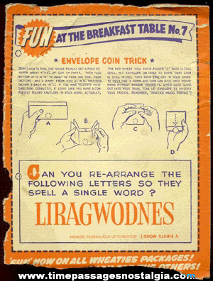 Old Wheaties Cereal Box Back With A Magic Coin Trick & Puzzle