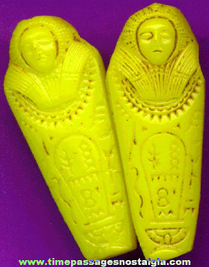 (2) Two-Sided - Yellow Glass Egyptian Mummy Sarcophagus Beads