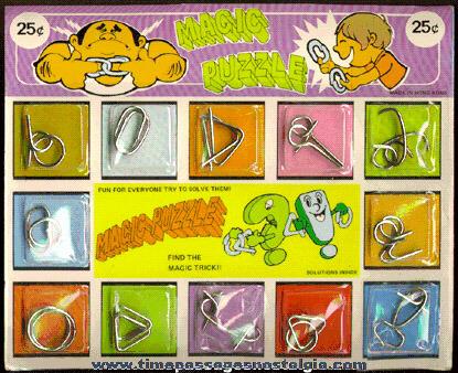 Full Magic Puzzles Gum Ball Machine Display Header Card