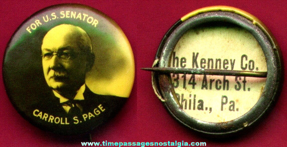 Old Celluloid United States Senator Campaign Pin Back Button