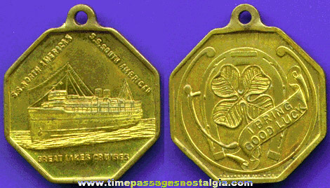 Old Ship Advertising Souvenir Key Chain Fob
