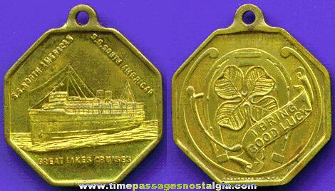Old Ship Advertising Souvenir Key Chain Fob